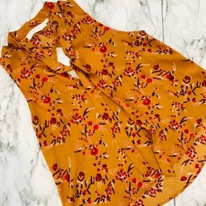 ASTR the Label Tie Neck Floral Mustard Yellow Tank